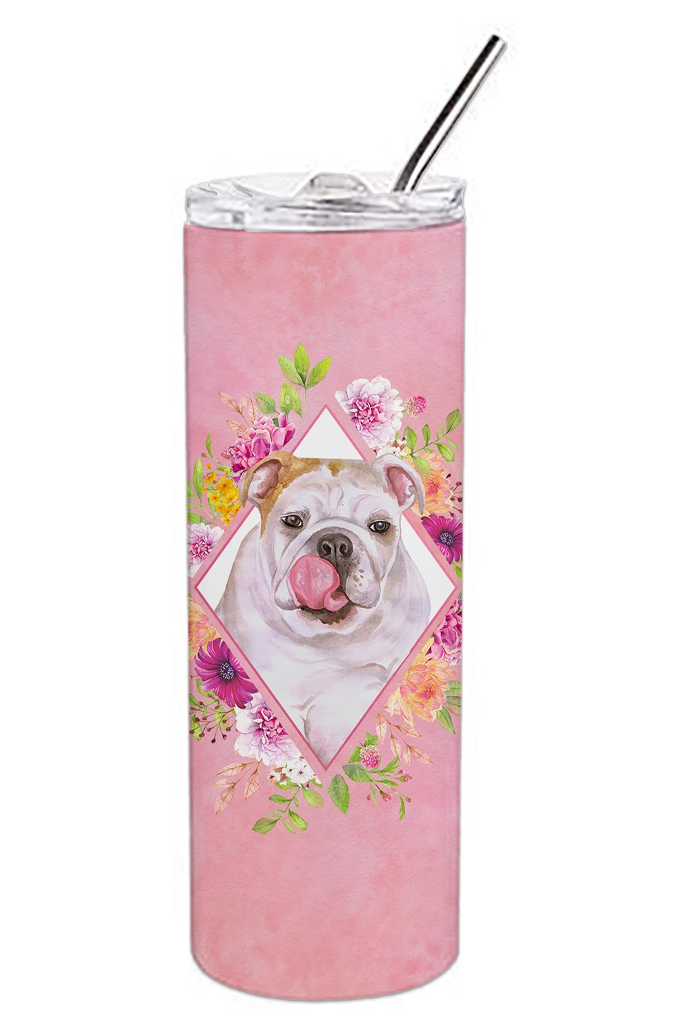 English Bulldog Pink Flowers Double Walled Stainless Steel 20 oz Skinny Tumbler CK4140TBL20 by Caroline's Treasures