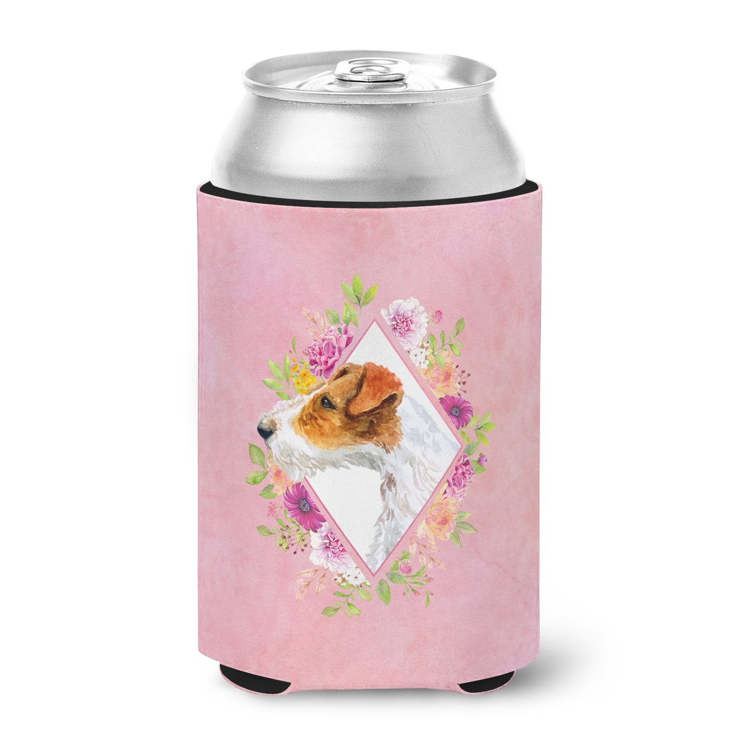 Buy this Jack Russell Terrier #2 Pink Flowers Can or Bottle Hugger CK4142CC