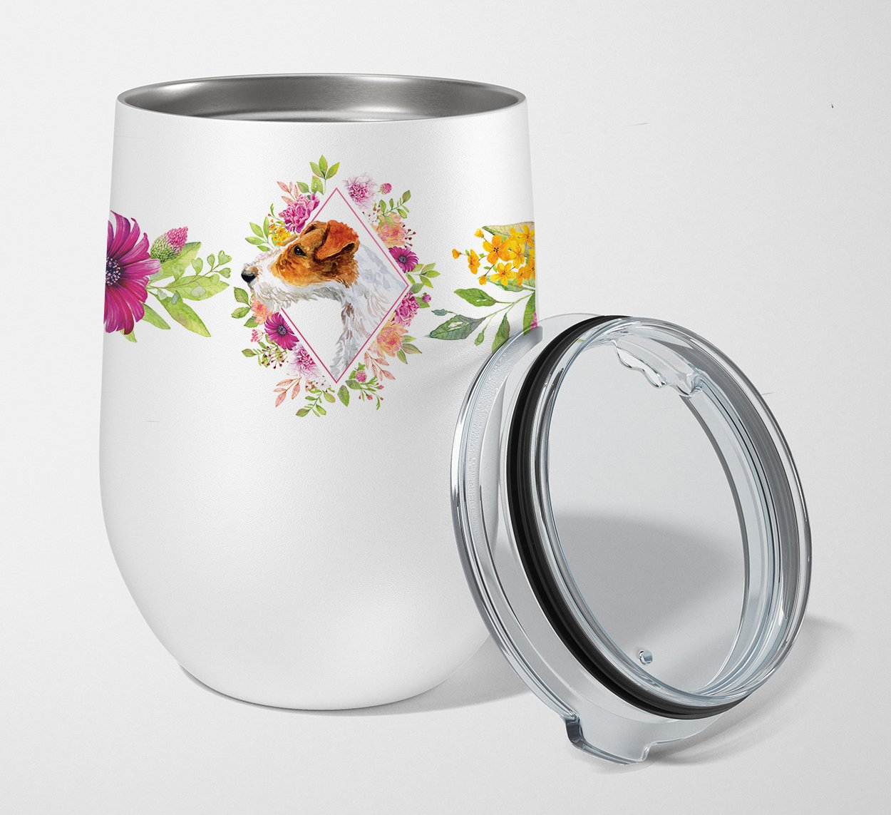 Buy this Jack Russell Terrier #2 Pink Flowers Stainless Steel 12 oz Stemless Wine Glass CK4142TBL12