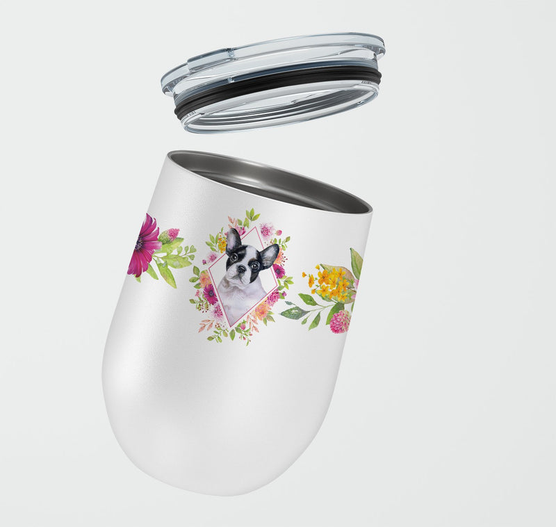 Buy this French Bulldog Pink Flowers Stainless Steel 12 oz Stemless Wine Glass CK4143TBL12