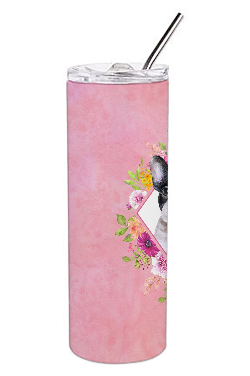 French Bulldog Pink Flowers Double Walled Stainless Steel 20 oz Skinny Tumbler CK4143TBL20 by Caroline's Treasures