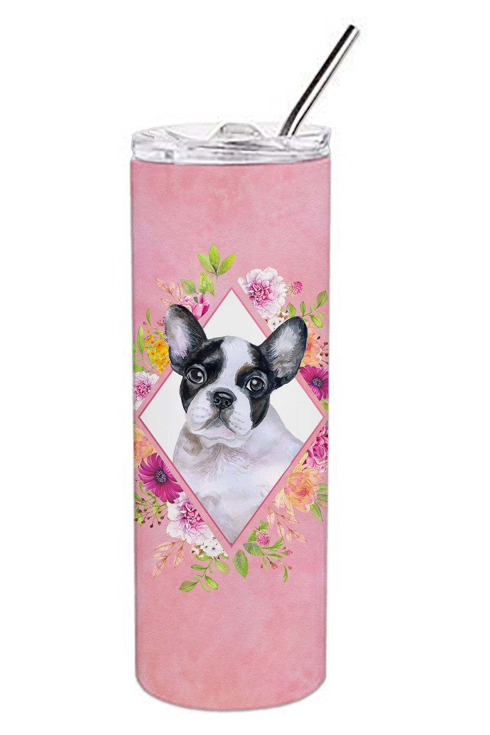 Buy this French Bulldog Pink Flowers Double Walled Stainless Steel 20 oz Skinny Tumbler CK4143TBL20