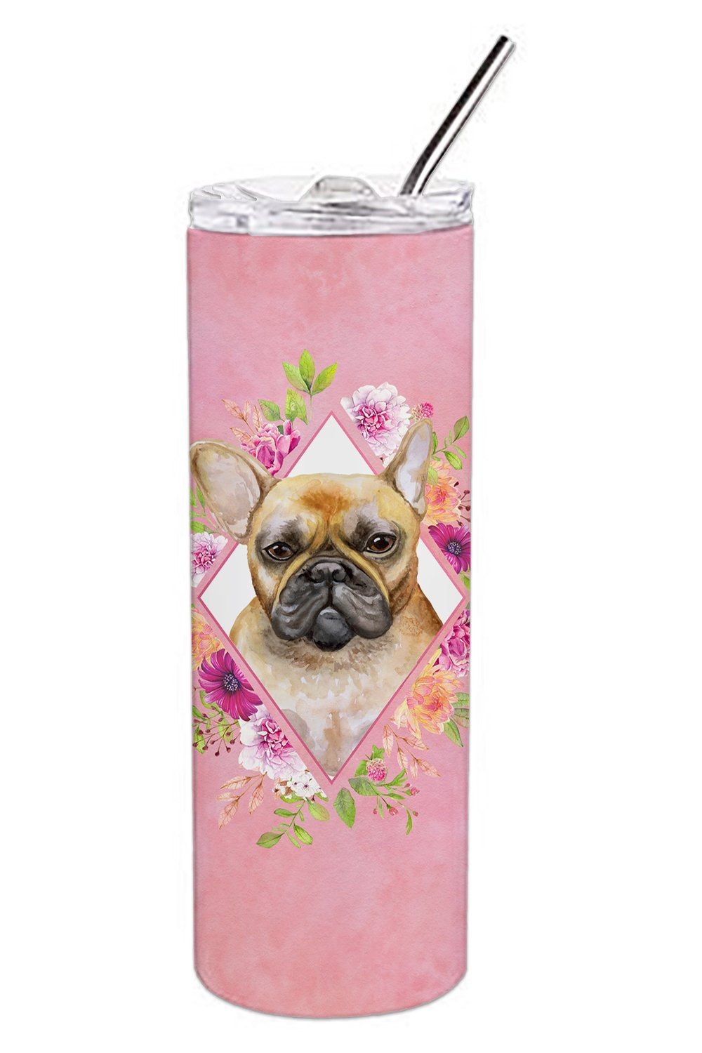 Fawn French Bulldog Pink Flowers Double Walled Stainless Steel 20 oz Skinny Tumbler CK4144TBL20 by Caroline's Treasures