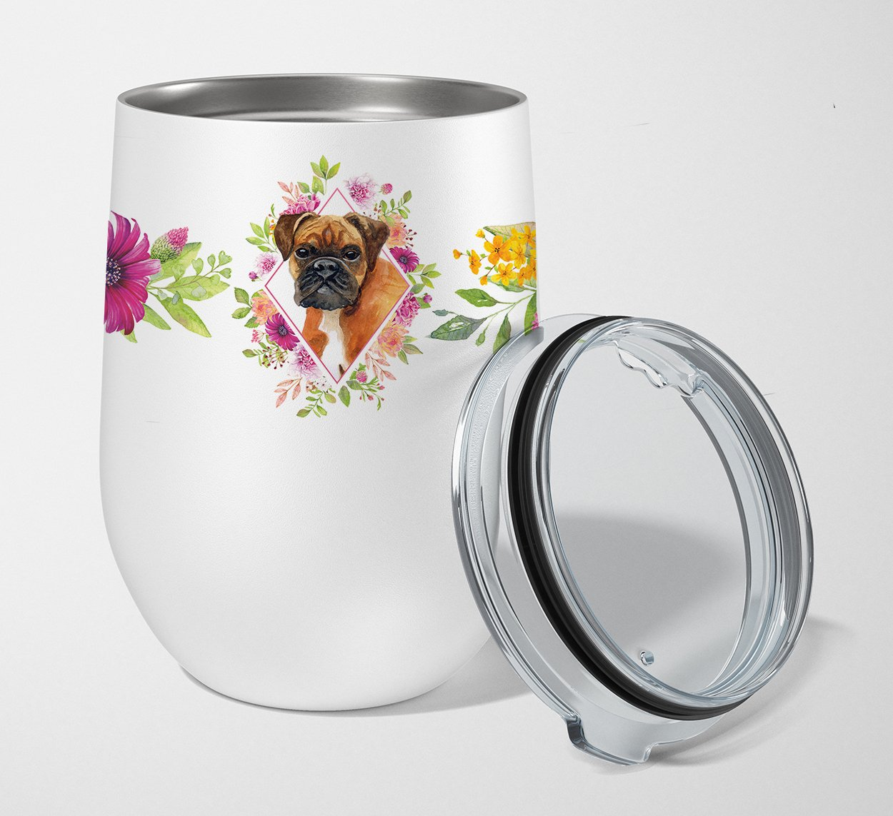 German Boxer Pink Flowers Stainless Steel 12 oz Stemless Wine Glass CK4145TBL12 by Caroline's Treasures