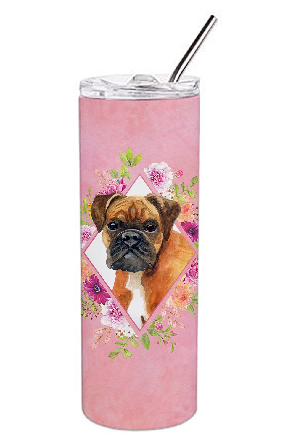 German Boxer Pink Flowers Double Walled Stainless Steel 20 oz Skinny Tumbler CK4145TBL20 by Caroline's Treasures