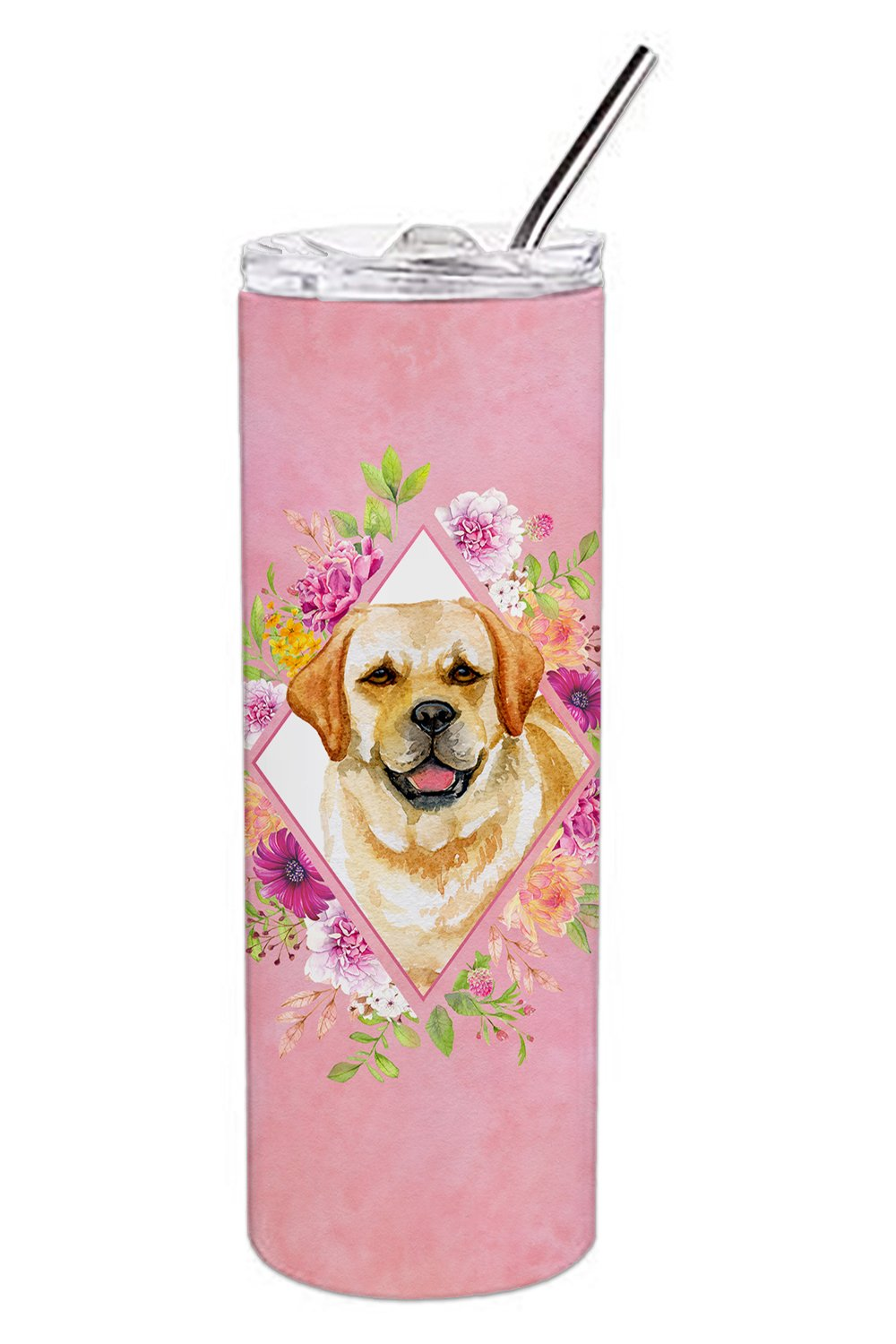 Buy this Golden Retriever Pink Flowers Double Walled Stainless Steel 20 oz Skinny Tumbler CK4149TBL20