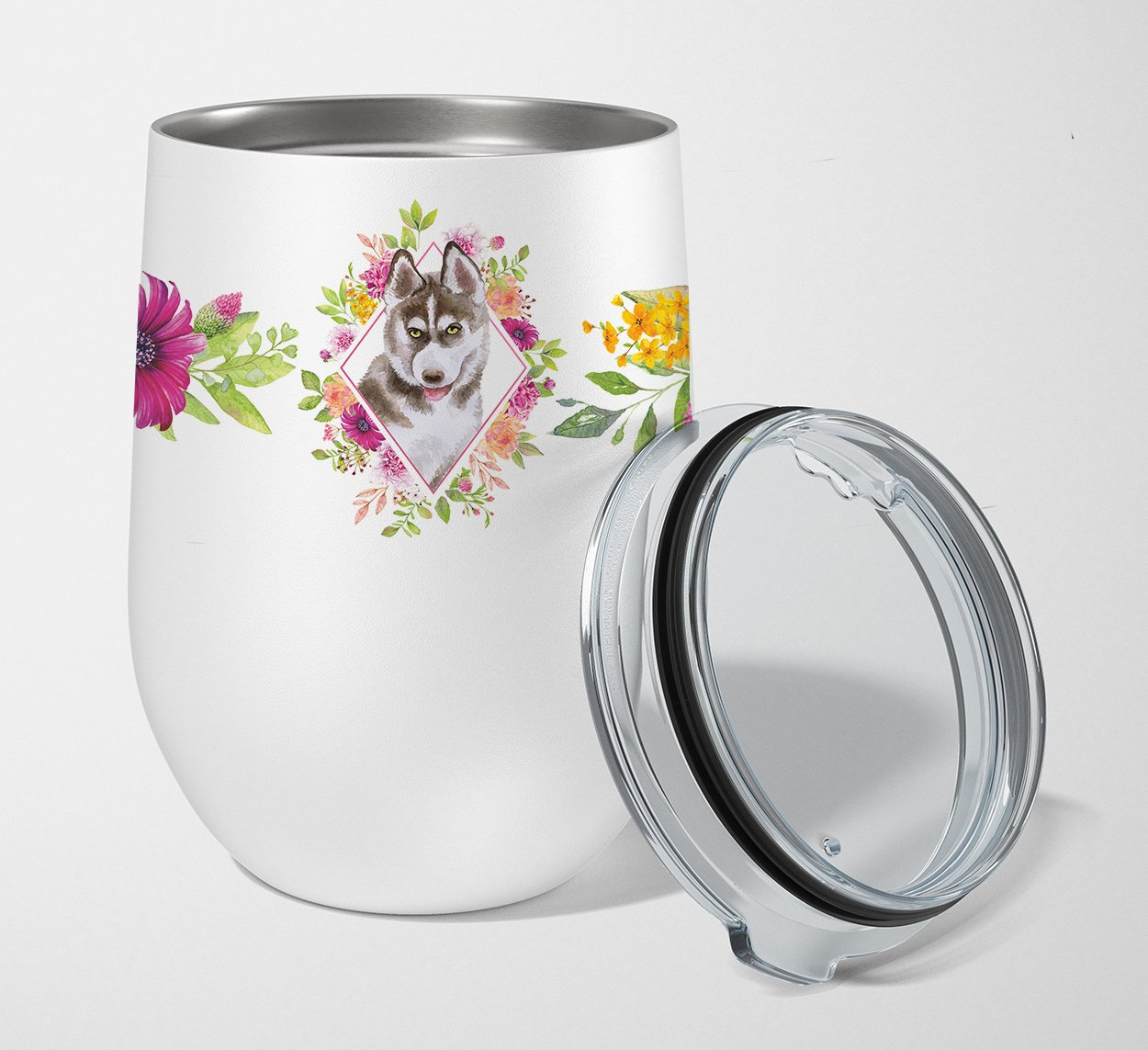 Siberian Husky #2 Pink Flowers Stainless Steel 12 oz Stemless Wine Glass CK4152TBL12 by Caroline's Treasures