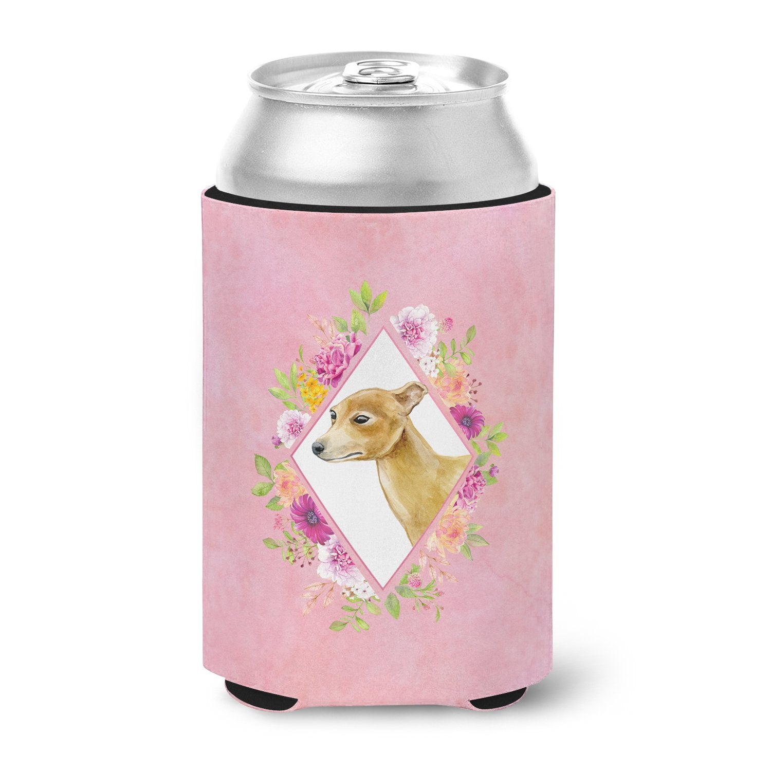 Buy this Italian Greyhound Pink Flowers Can or Bottle Hugger CK4154CC