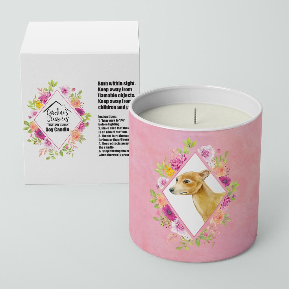 Italian Greyhound Pink Flowers 10 oz Decorative Soy Candle CK4154CDL by Caroline's Treasures