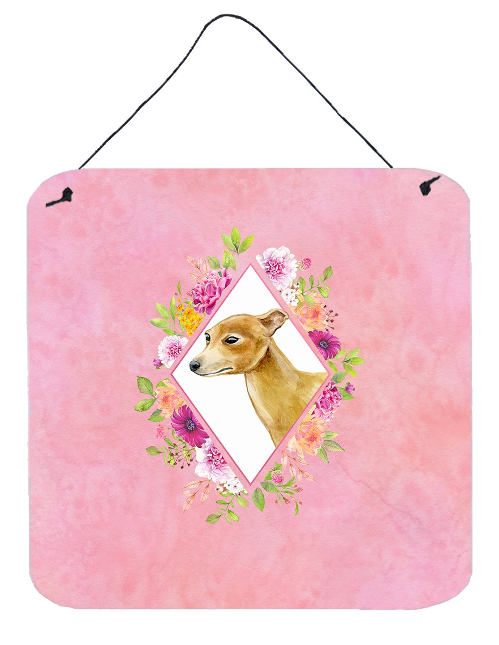 Buy this Italian Greyhound Pink Flowers Wall or Door Hanging Prints CK4154DS66