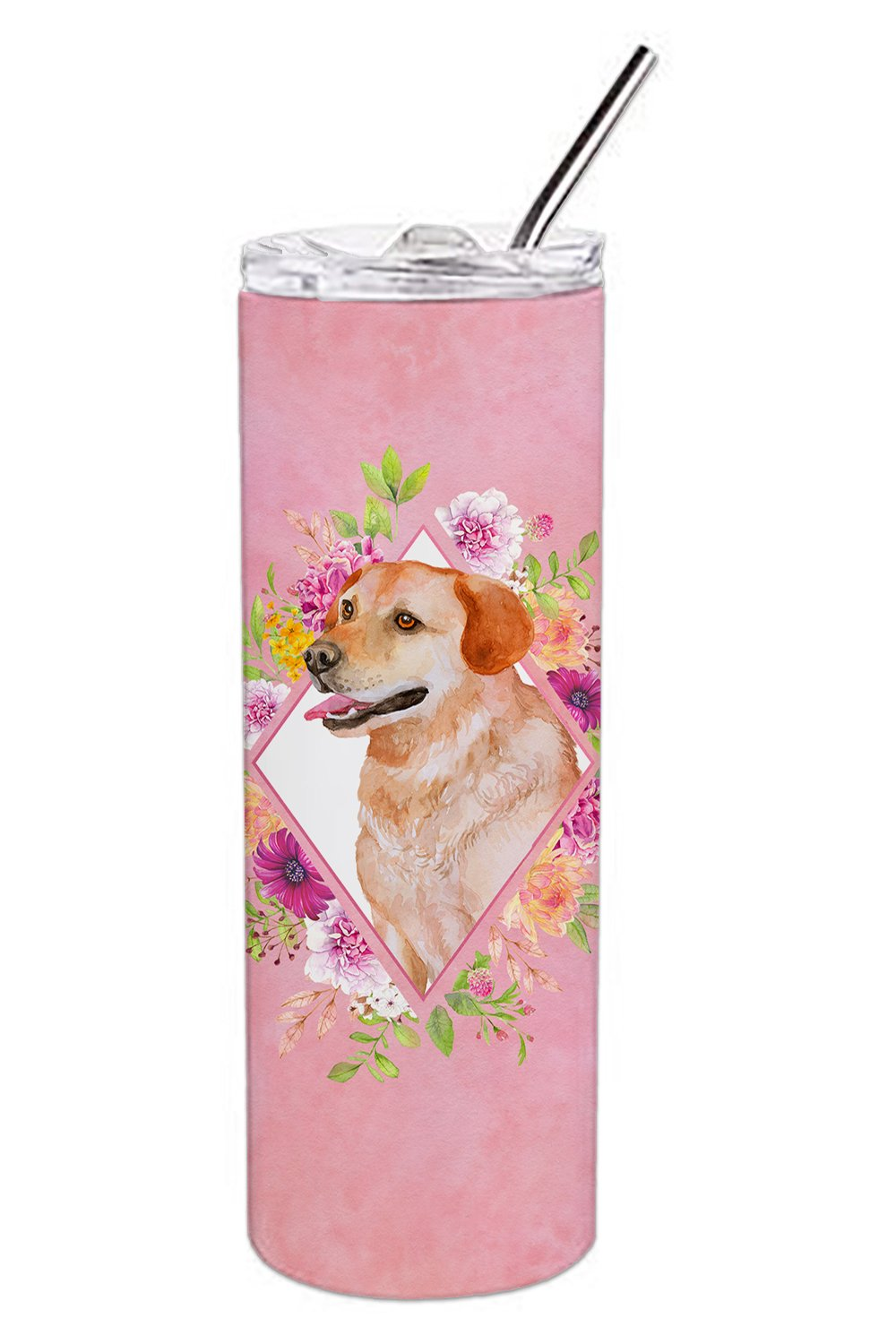 Buy this Yellow Labrador Retriever Pink Flowers Double Walled Stainless Steel 20 oz Skinny Tumbler CK4158TBL20
