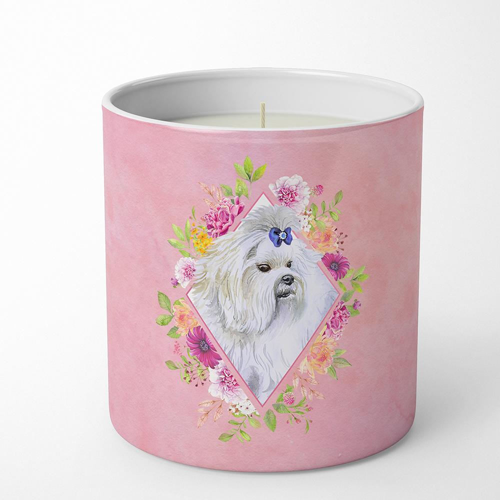 Maltese Pink Flowers 10 oz Decorative Soy Candle CK4159CDL by Caroline's Treasures