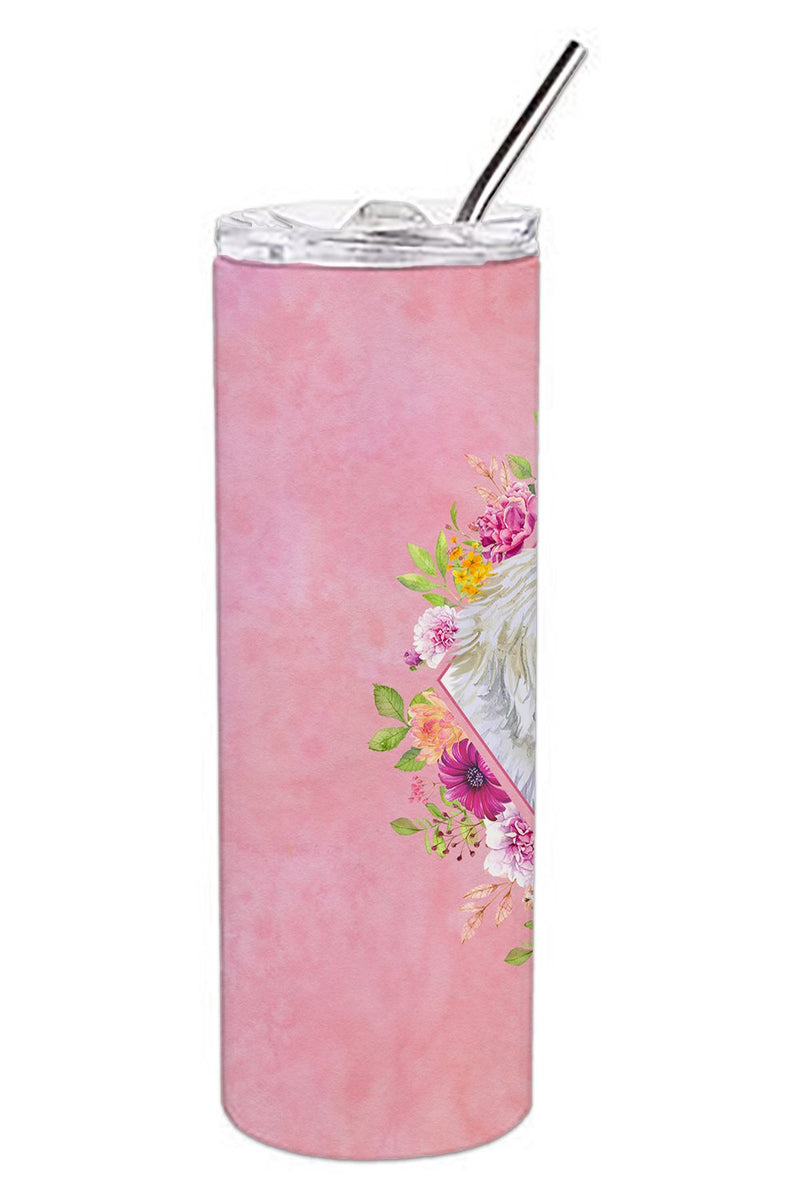 Buy this Maltese Pink Flowers Double Walled Stainless Steel 20 oz Skinny Tumbler CK4159TBL20