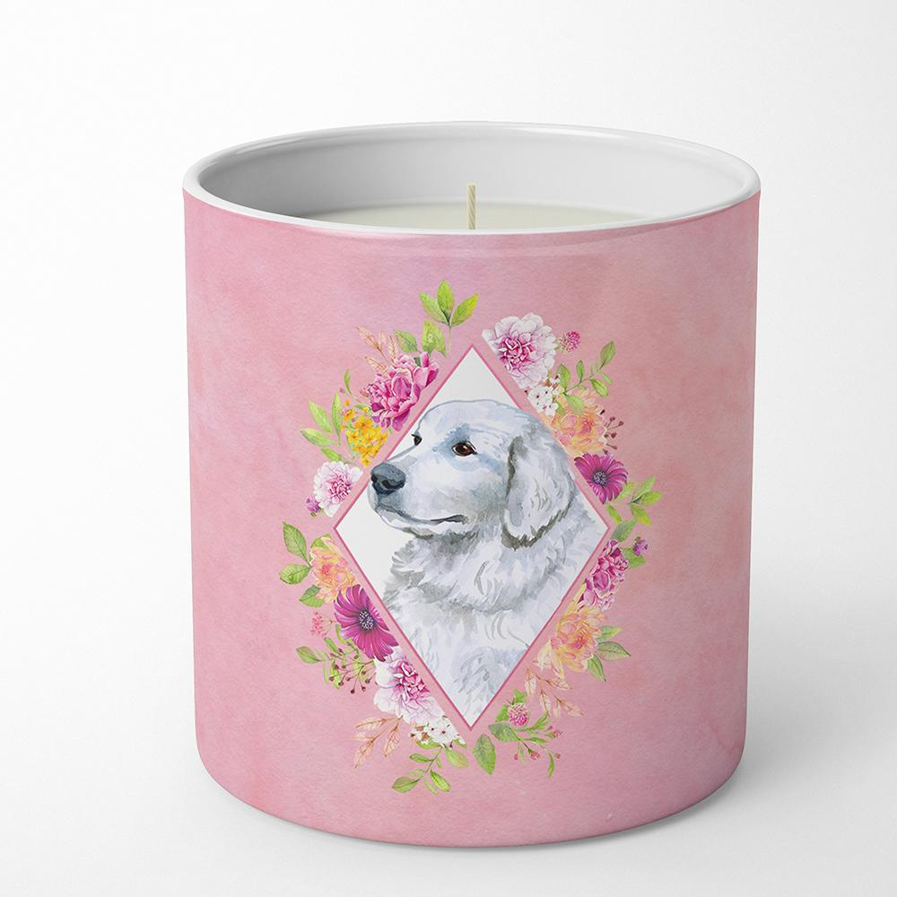 Great Pyrenees Pink Flowers 10 oz Decorative Soy Candle CK4160CDL by Caroline's Treasures