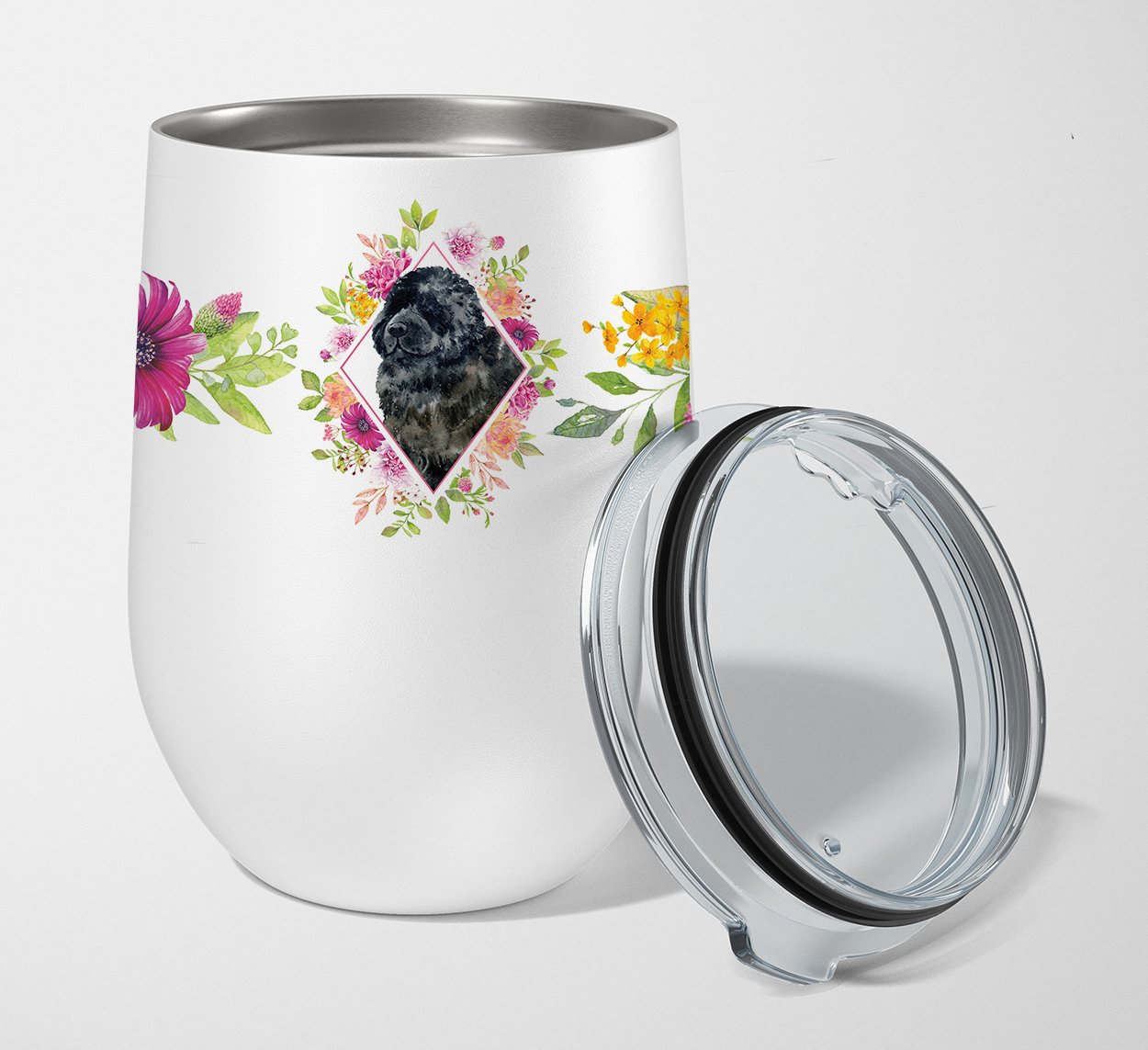 Newfoundland Pink Flowers Stainless Steel 12 oz Stemless Wine Glass CK4163TBL12 by Caroline's Treasures