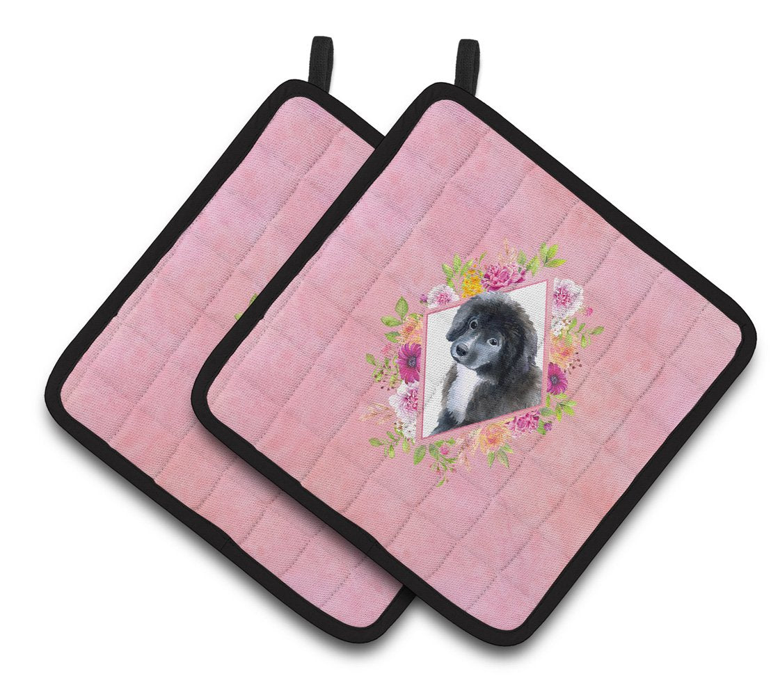 Buy this Newfoundland Puppy Pink Flowers Pair of Pot Holders CK4164PTHD