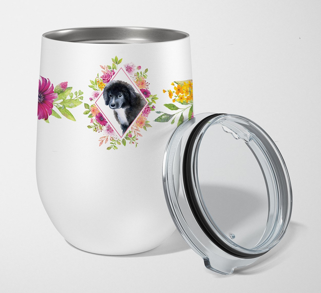 Newfoundland Puppy Pink Flowers Stainless Steel 12 oz Stemless Wine Glass CK4164TBL12 by Caroline's Treasures