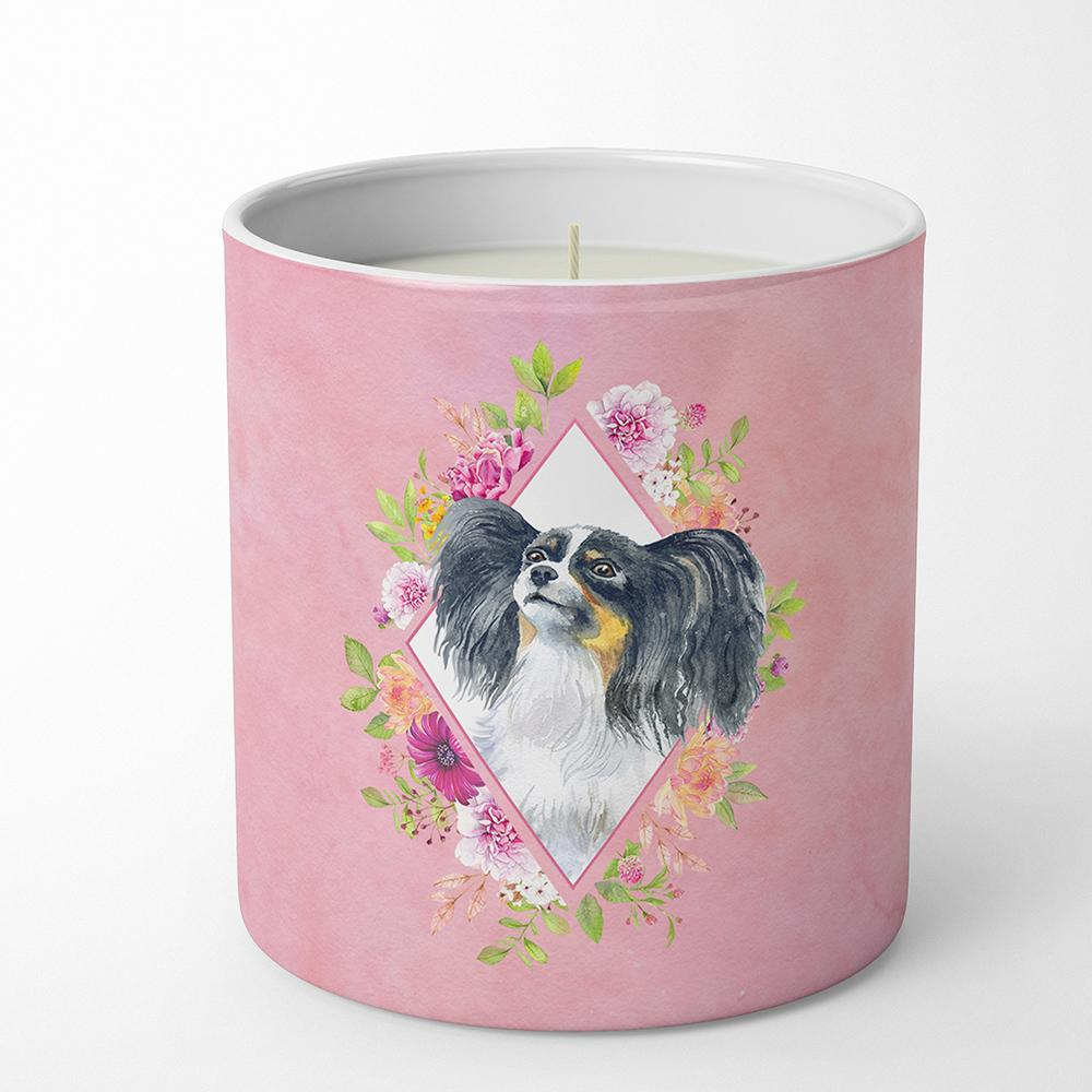 Papillon Pink Flowers 10 oz Decorative Soy Candle CK4165CDL by Caroline's Treasures
