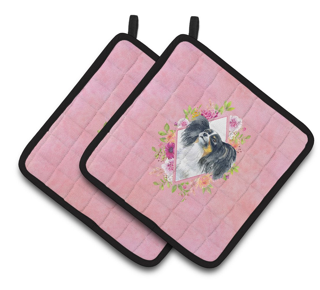 Papillon Pink Flowers Pair of Pot Holders CK4165PTHD by Caroline's Treasures