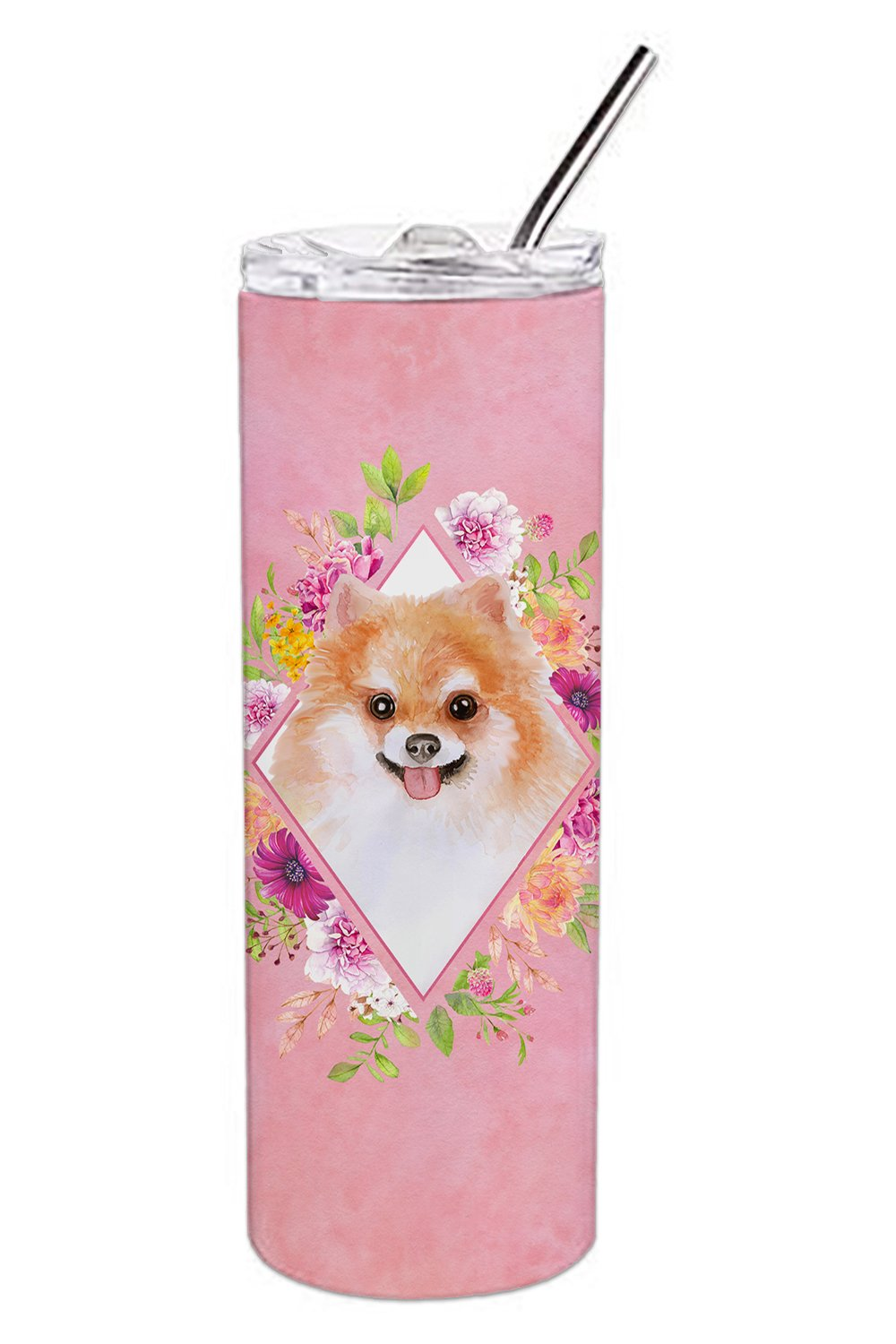 Pomeranian #1 Pink Flowers Double Walled Stainless Steel 20 oz Skinny Tumbler CK4169TBL20 by Caroline's Treasures