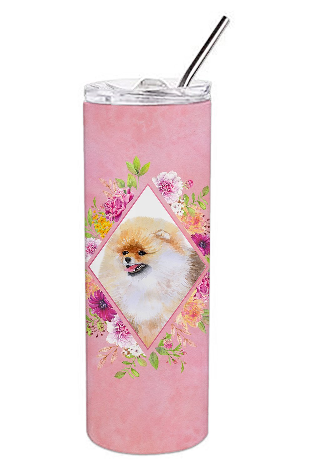 Buy this Pomeranian #2 Pink Flowers Double Walled Stainless Steel 20 oz Skinny Tumbler CK4170TBL20
