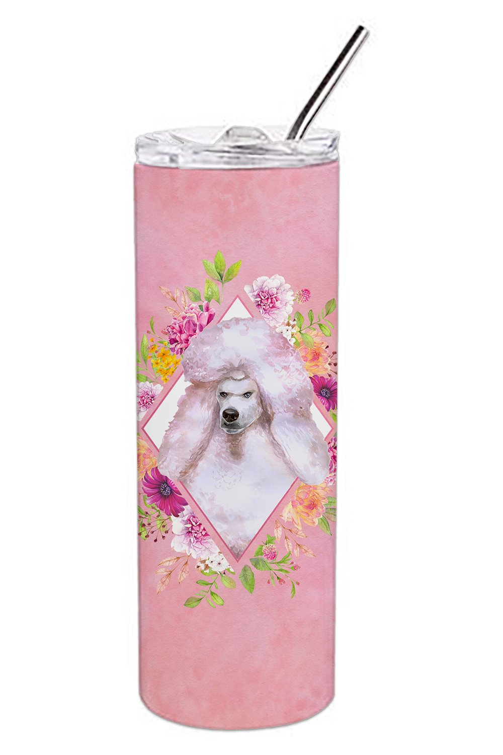 Standard White Poodle Pink Flowers Double Walled Stainless Steel 20 oz Skinny Tumbler CK4171TBL20 by Caroline's Treasures