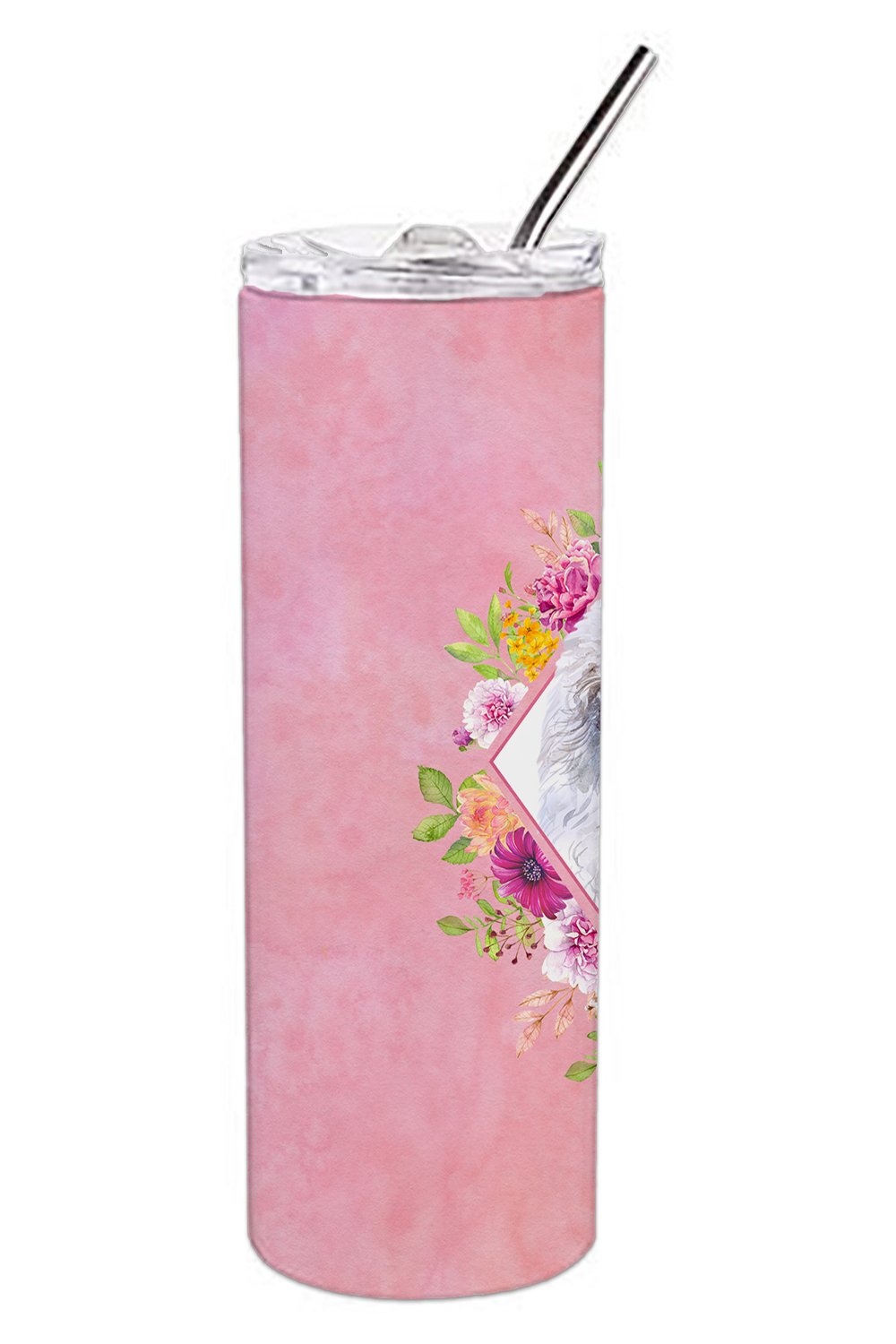 White Mini Poodle Pink Flowers Double Walled Stainless Steel 20 oz Skinny Tumbler CK4172TBL20 by Caroline's Treasures