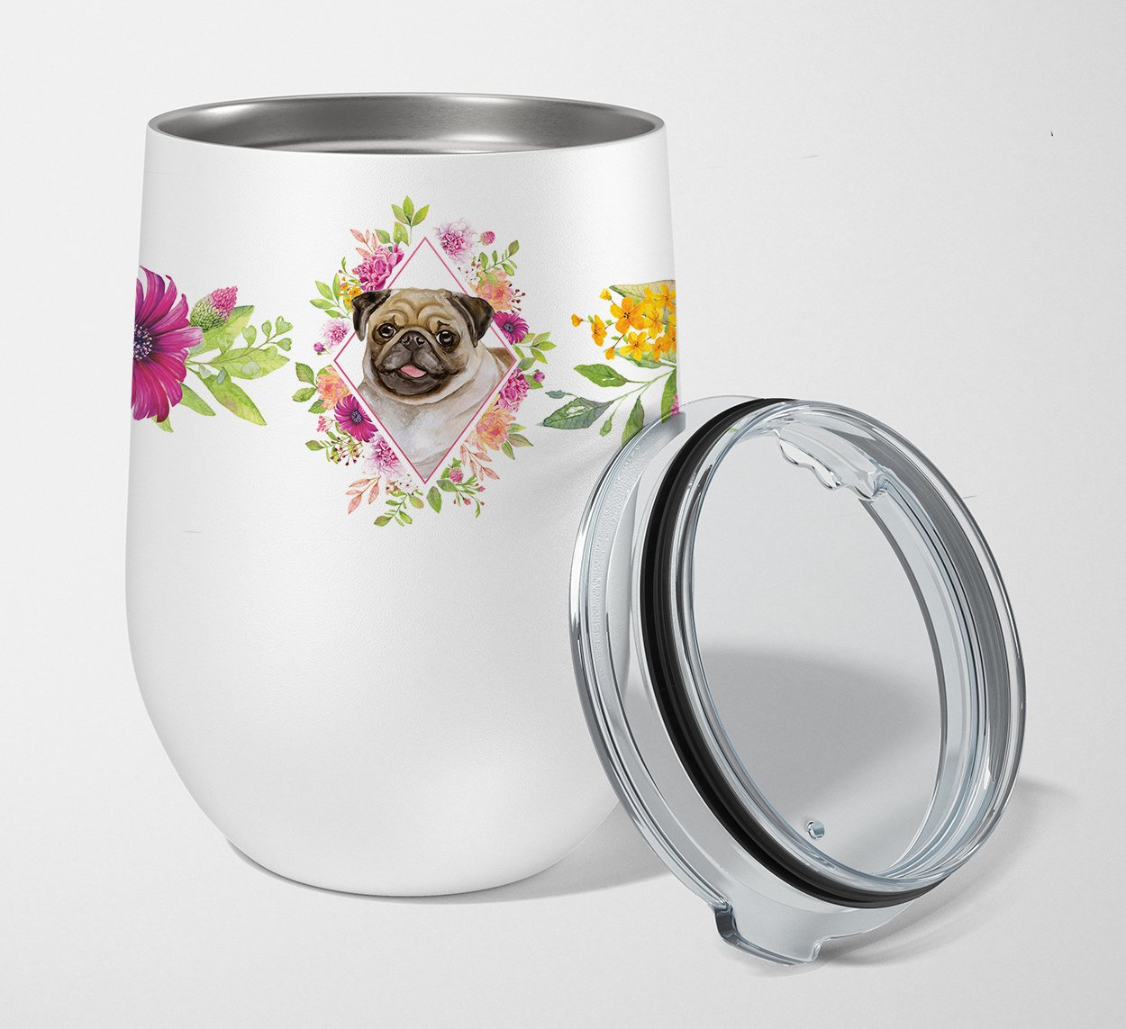 Buy this Fawn Pug Pink Flowers Stainless Steel 12 oz Stemless Wine Glass CK4174TBL12