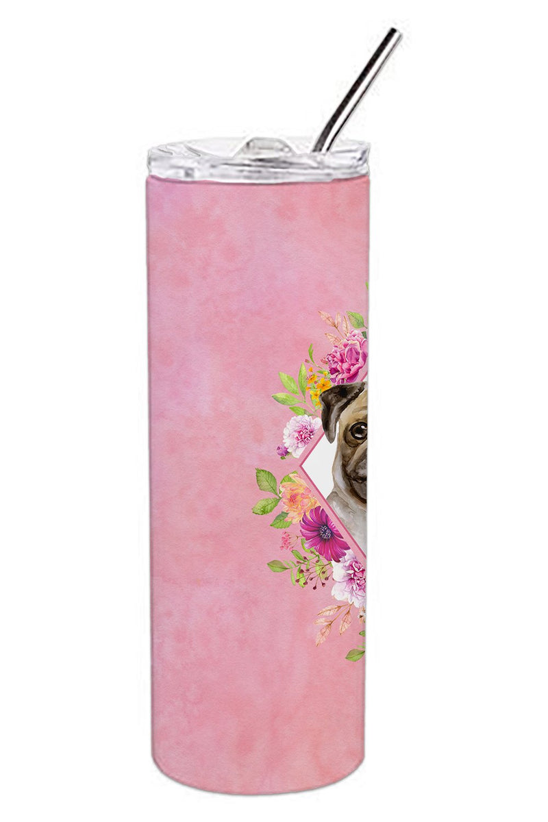 Buy this Fawn Pug Pink Flowers Double Walled Stainless Steel 20 oz Skinny Tumbler CK4174TBL20
