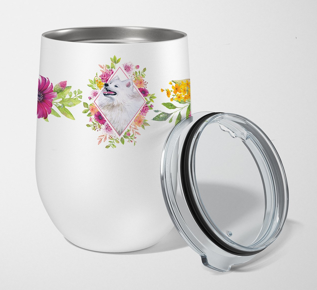 Samoyed Pink Flowers Stainless Steel 12 oz Stemless Wine Glass CK4177TBL12 by Caroline's Treasures