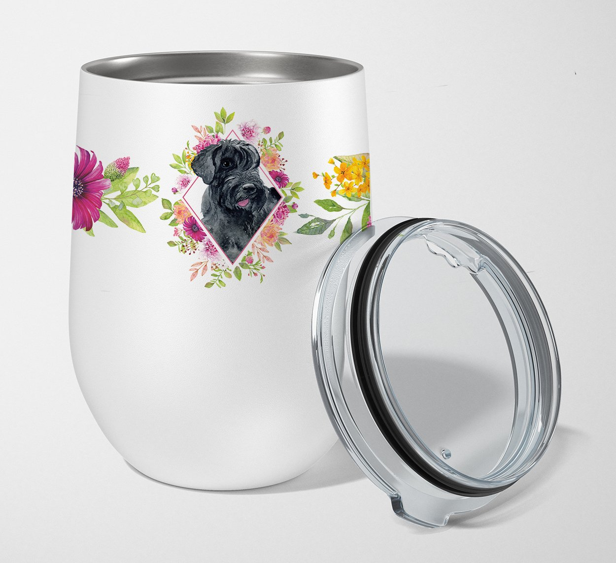 Buy this Giant Schnauzer Pink Flowers Stainless Steel 12 oz Stemless Wine Glass CK4178TBL12