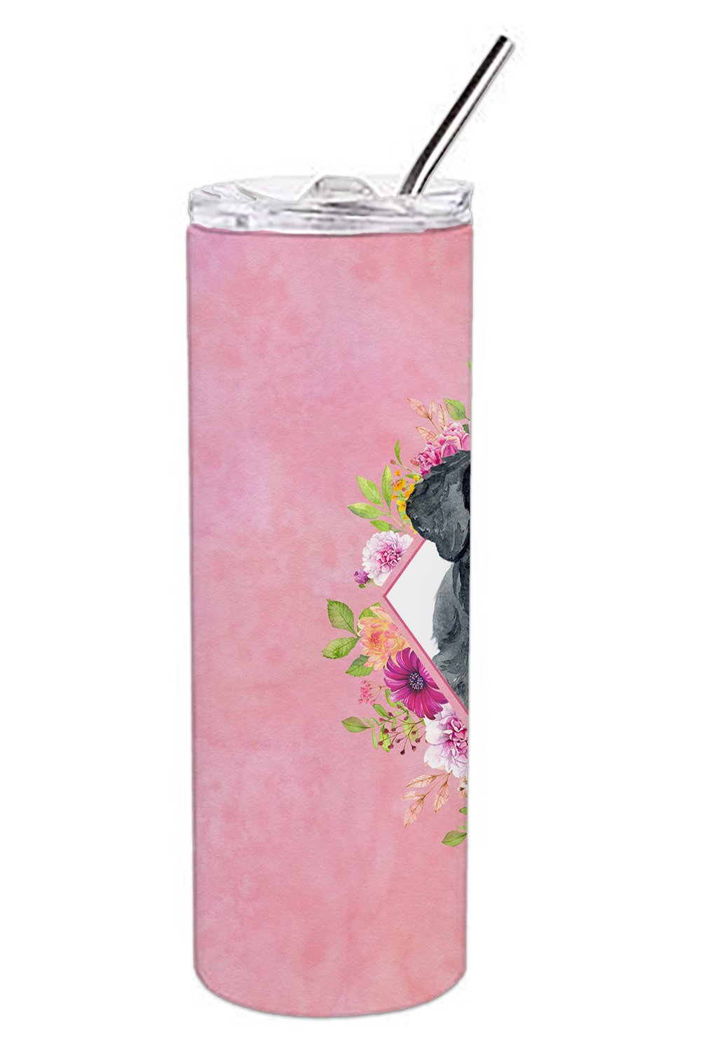 Giant Schnauzer Pink Flowers Double Walled Stainless Steel 20 oz Skinny Tumbler CK4178TBL20 by Caroline's Treasures