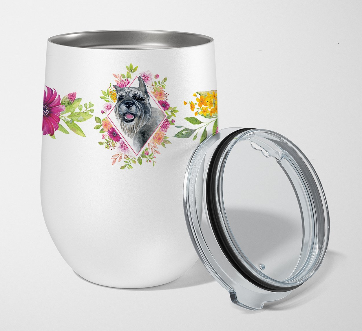 Buy this Schnauzer Pink Flowers Stainless Steel 12 oz Stemless Wine Glass CK4179TBL12