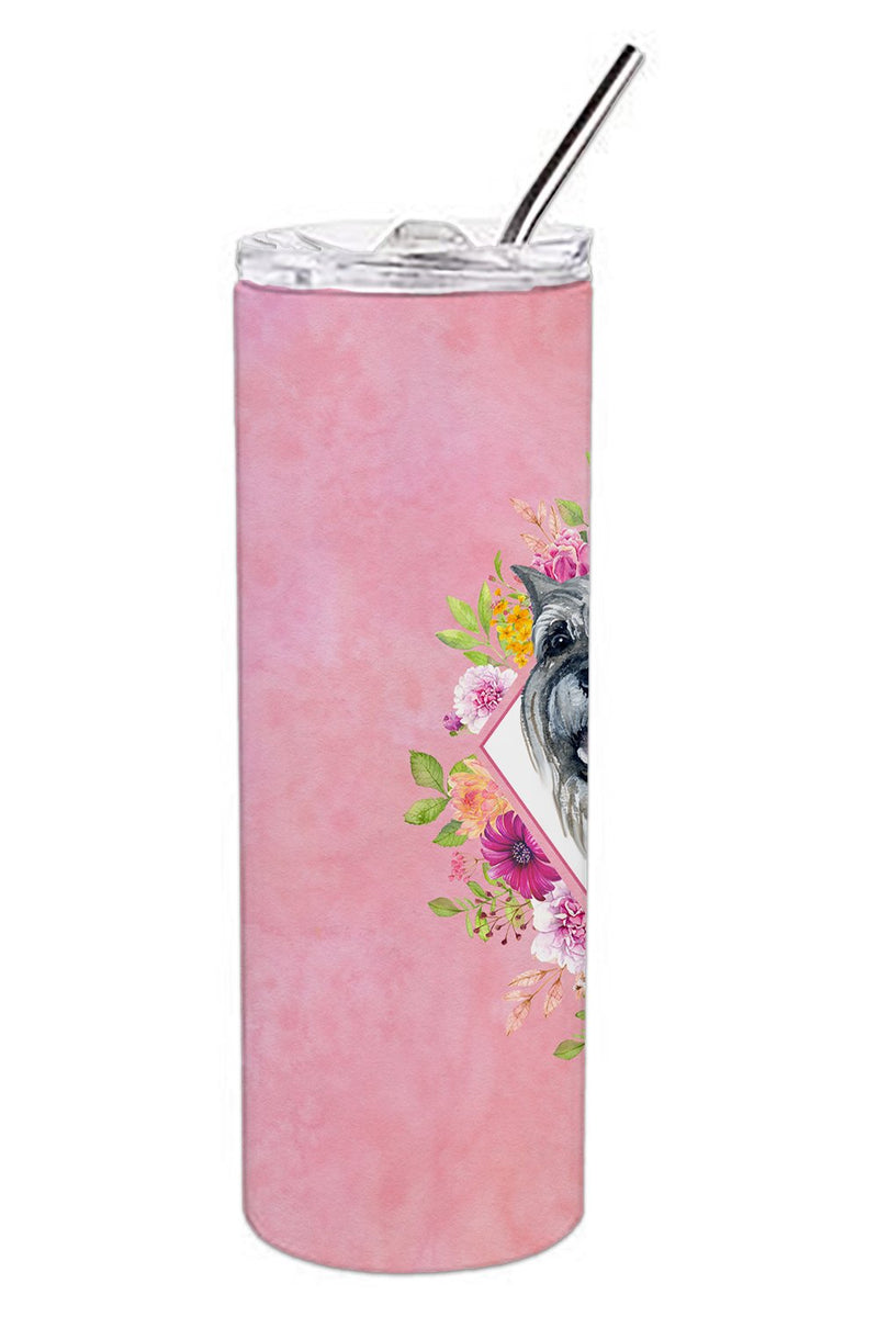 Buy this Schnauzer Pink Flowers Double Walled Stainless Steel 20 oz Skinny Tumbler CK4179TBL20
