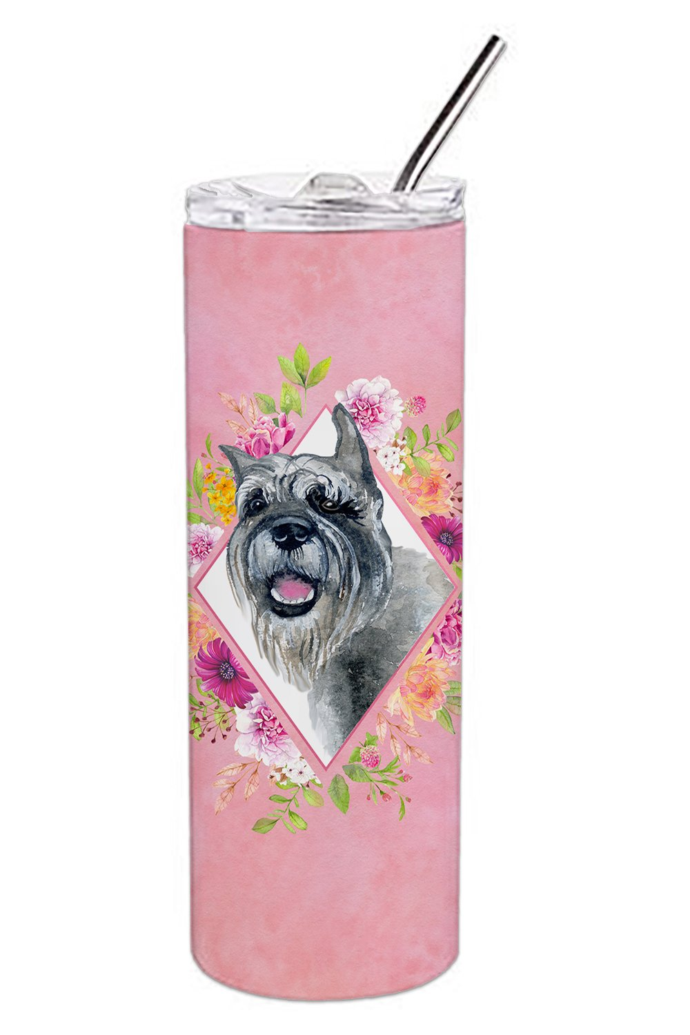 Schnauzer Pink Flowers Double Walled Stainless Steel 20 oz Skinny Tumbler CK4179TBL20 by Caroline's Treasures