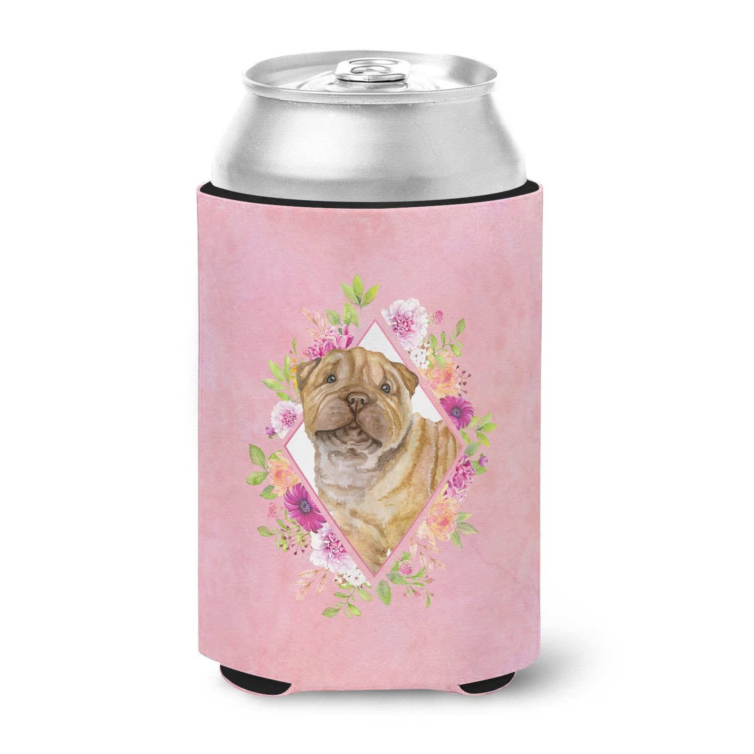Shar Pei Pink Flowers Can or Bottle Hugger CK4181CC by Caroline's Treasures
