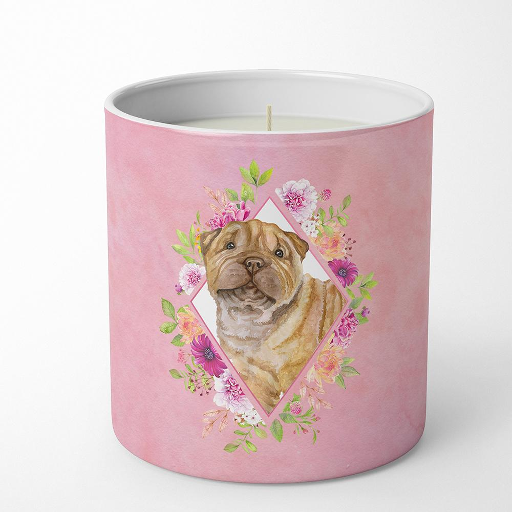 Shar Pei Pink Flowers 10 oz Decorative Soy Candle CK4181CDL by Caroline's Treasures