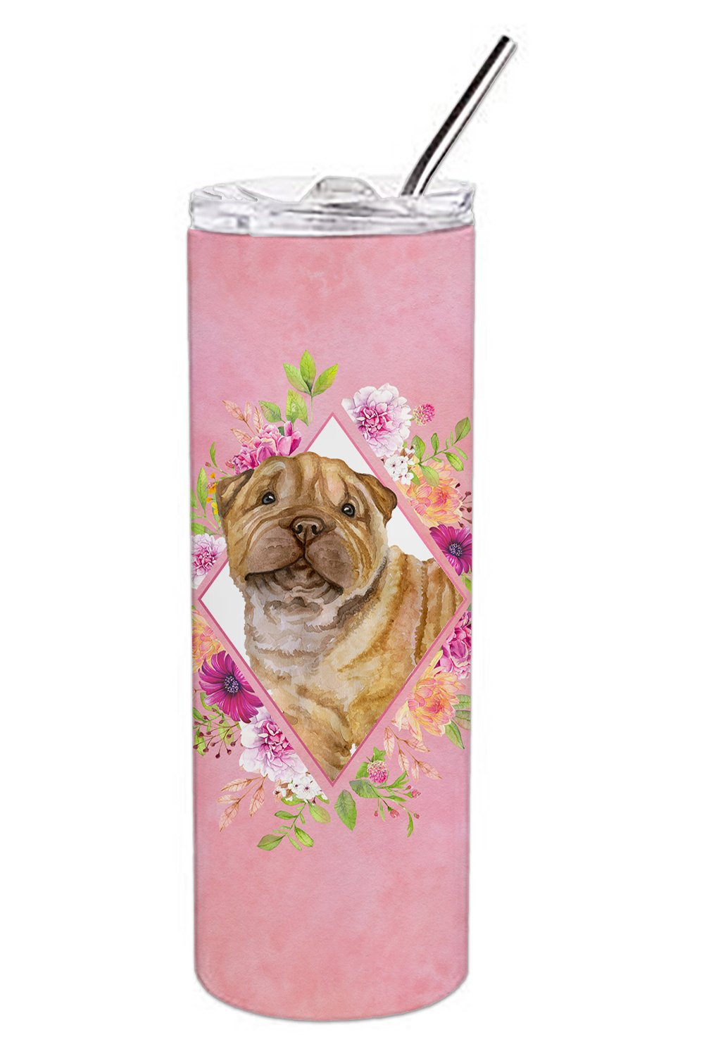Shar Pei Pink Flowers Double Walled Stainless Steel 20 oz Skinny Tumbler CK4181TBL20 by Caroline's Treasures