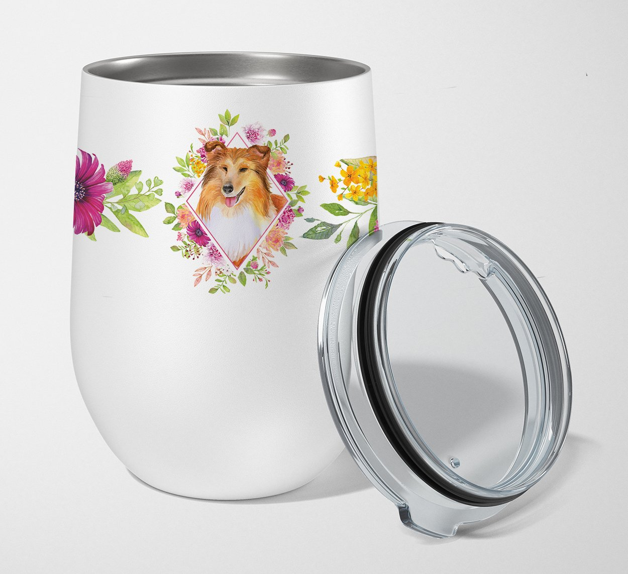 Buy this Sheltie Shetland Sheepdog Pink Flowers Stainless Steel 12 oz Stemless Wine Glass CK4182TBL12