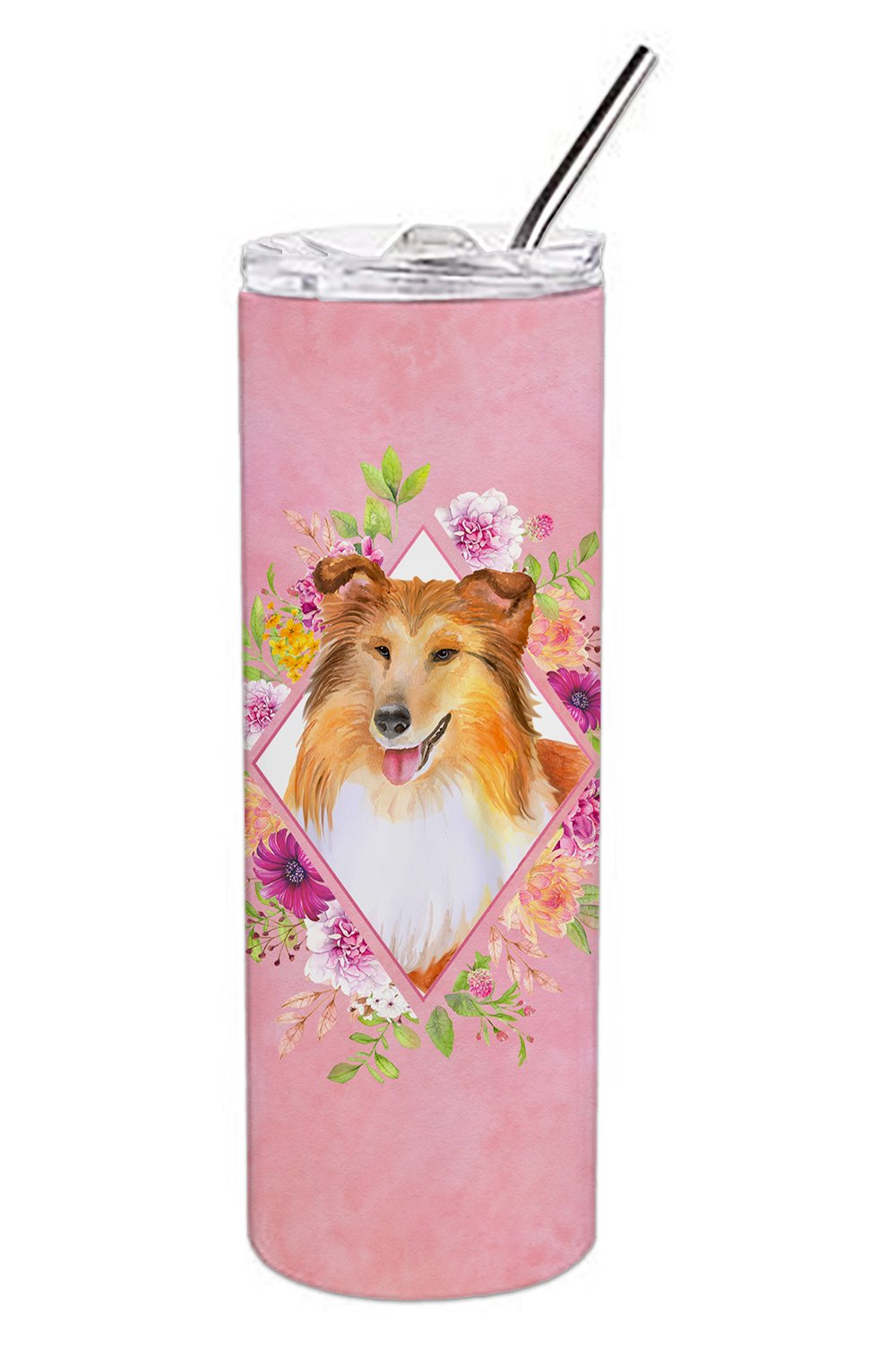 Buy this Sheltie Shetland Sheepdog Pink Flowers Double Walled Stainless Steel 20 oz Skinny Tumbler CK4182TBL20
