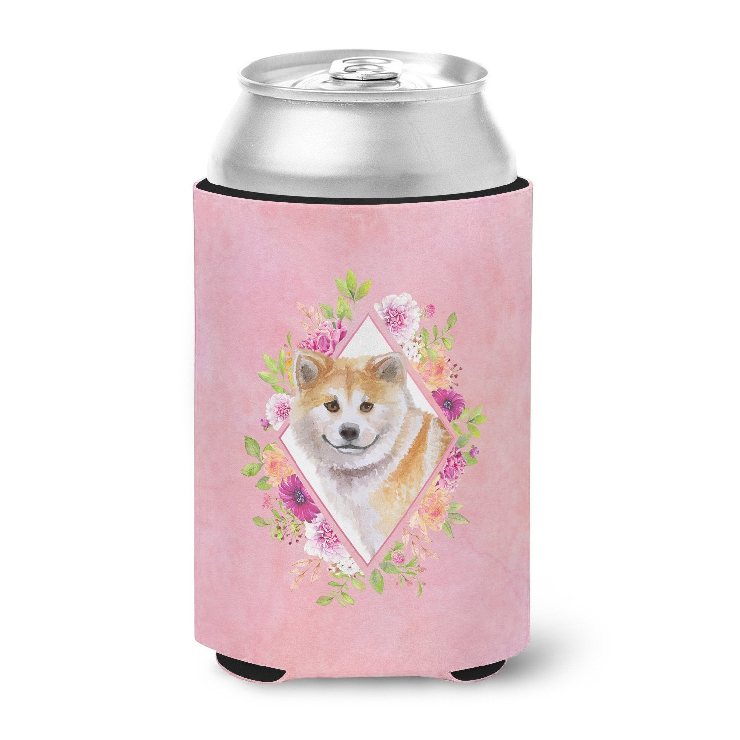 Shiba Inu Pink Flowers Can or Bottle Hugger CK4183CC by Caroline's Treasures