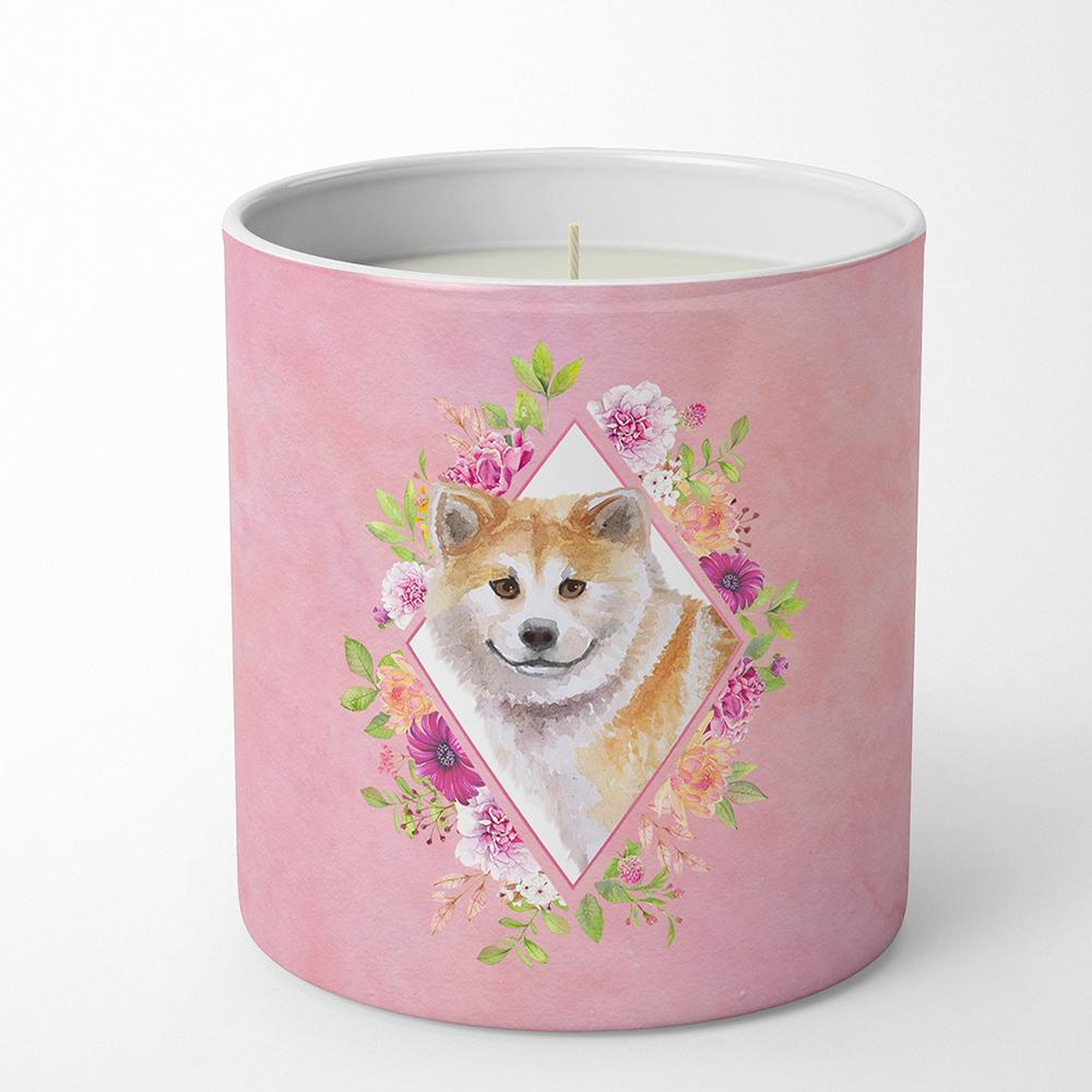 Shiba Inu Pink Flowers 10 oz Decorative Soy Candle CK4183CDL by Caroline's Treasures