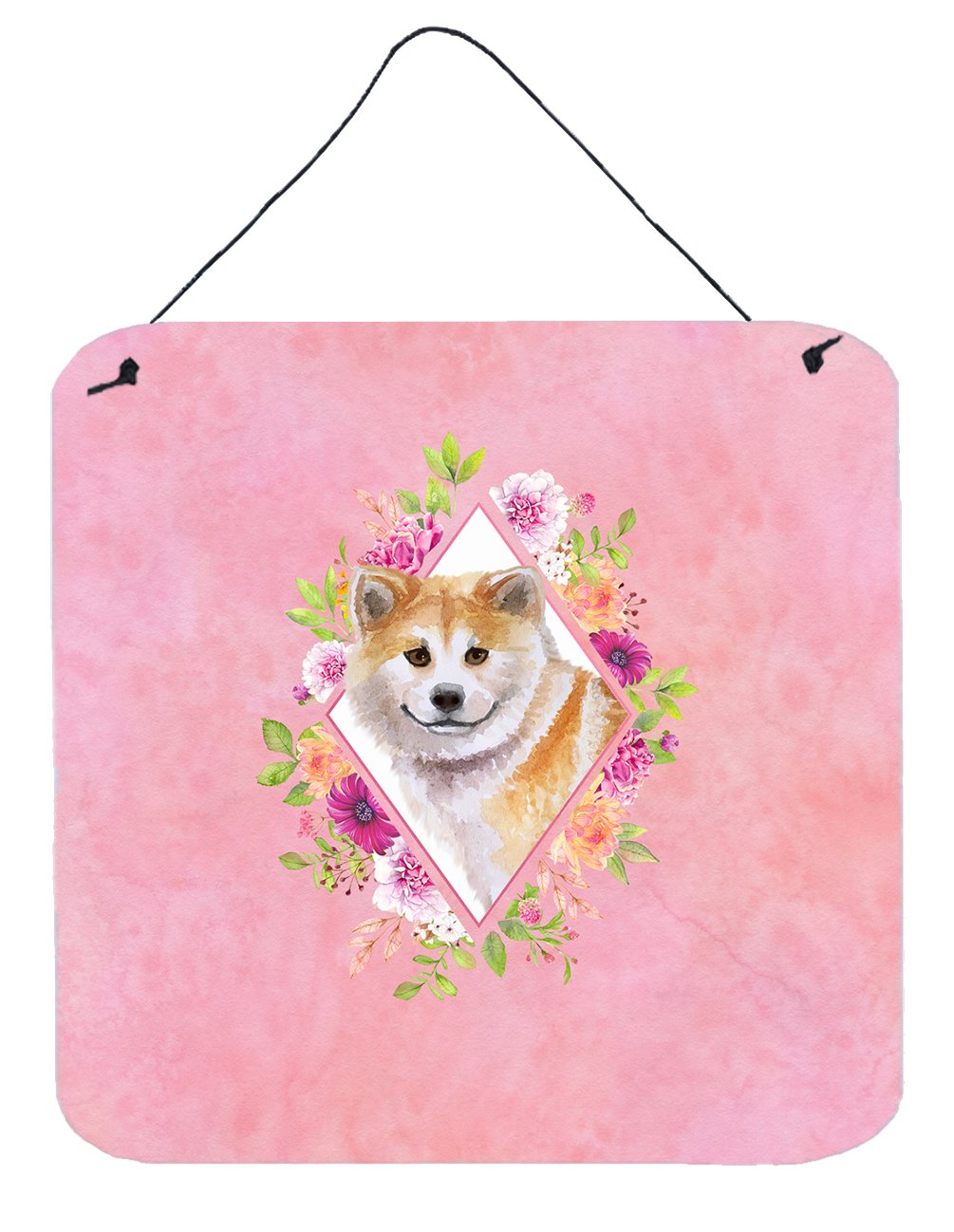 Shiba Inu Pink Flowers Wall or Door Hanging Prints CK4183DS66 by Caroline's Treasures