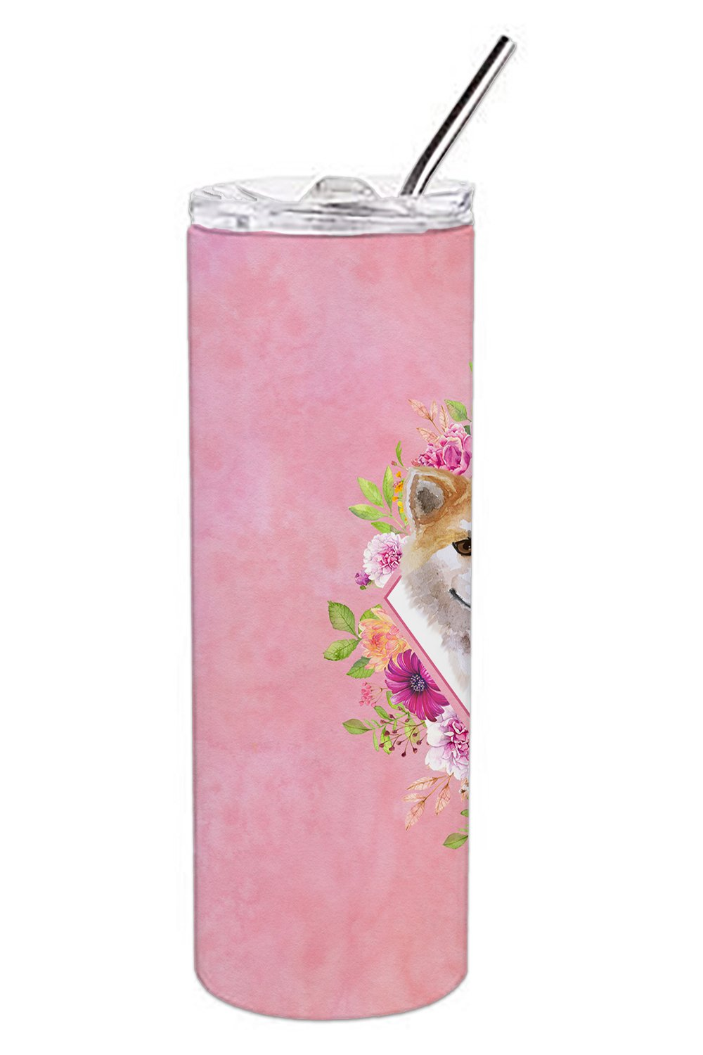 Shiba Inu Pink Flowers Double Walled Stainless Steel 20 oz Skinny Tumbler CK4183TBL20 by Caroline's Treasures