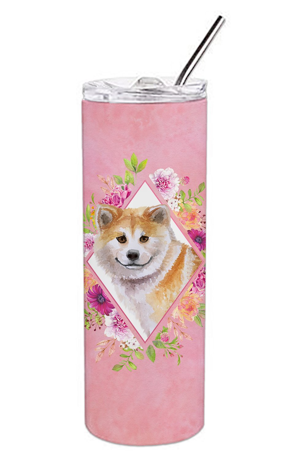 Buy this Shiba Inu Pink Flowers Double Walled Stainless Steel 20 oz Skinny Tumbler CK4183TBL20