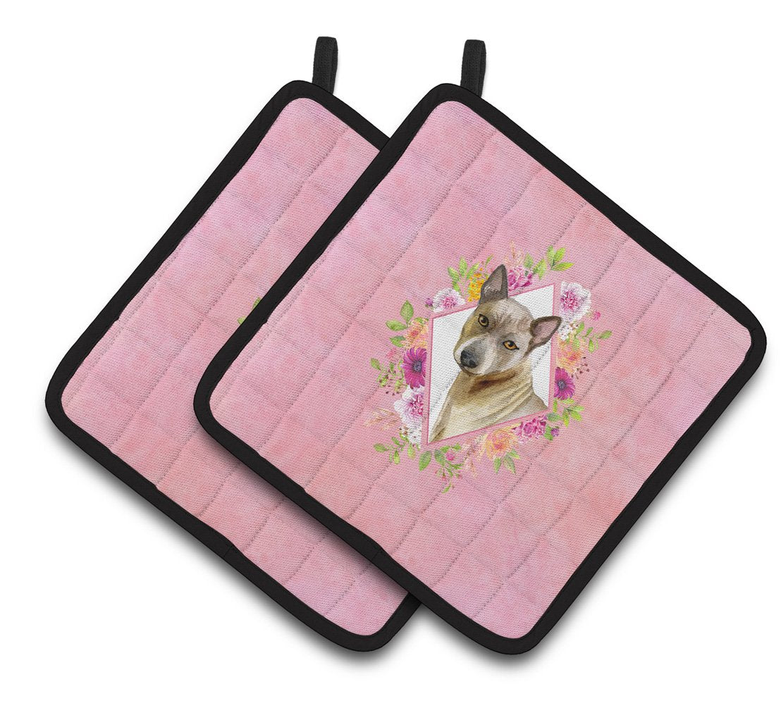 Buy this Thai Ridgeback Pink Flowers Pair of Pot Holders CK4188PTHD