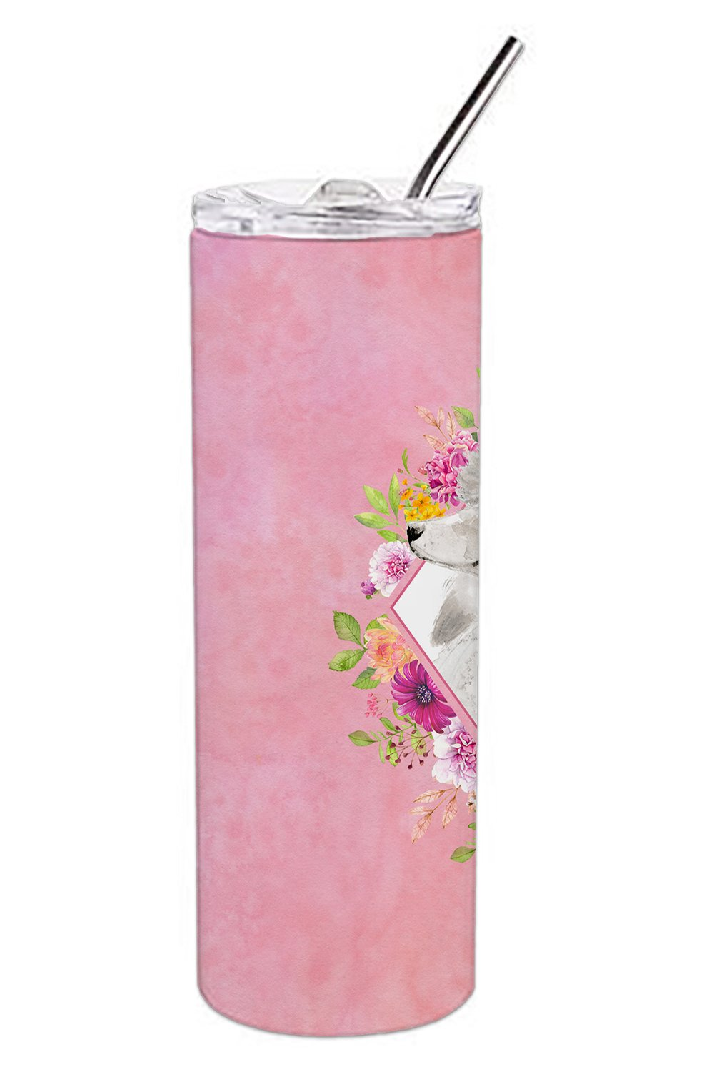 White Standard Poodle Pink Flowers Double Walled Stainless Steel 20 oz Skinny Tumbler CK4200TBL20 by Caroline's Treasures