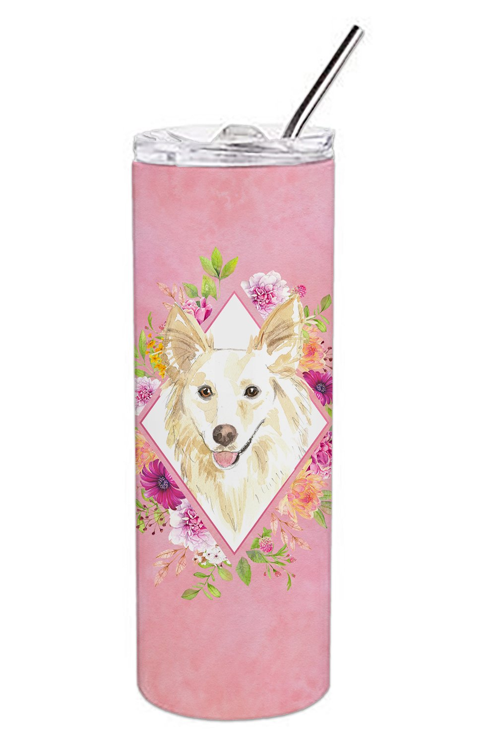 White Collie Pink Flowers Double Walled Stainless Steel 20 oz Skinny Tumbler CK4201TBL20 by Caroline's Treasures