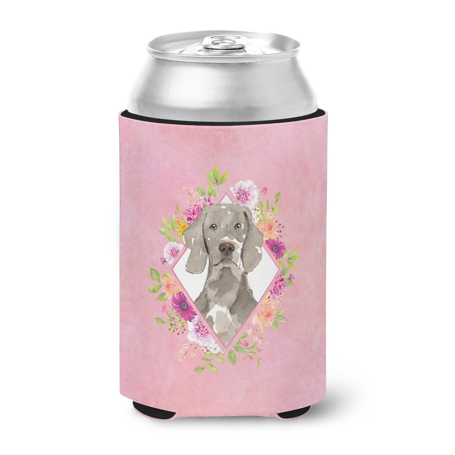 Weimaraner Pink Flowers Can or Bottle Hugger CK4205CC by Caroline's Treasures