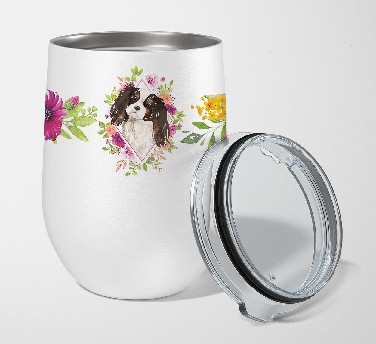 Buy this Tricolor Cavalier Spaniel Pink Flowers Stainless Steel 12 oz Stemless Wine Glass CK4206TBL12